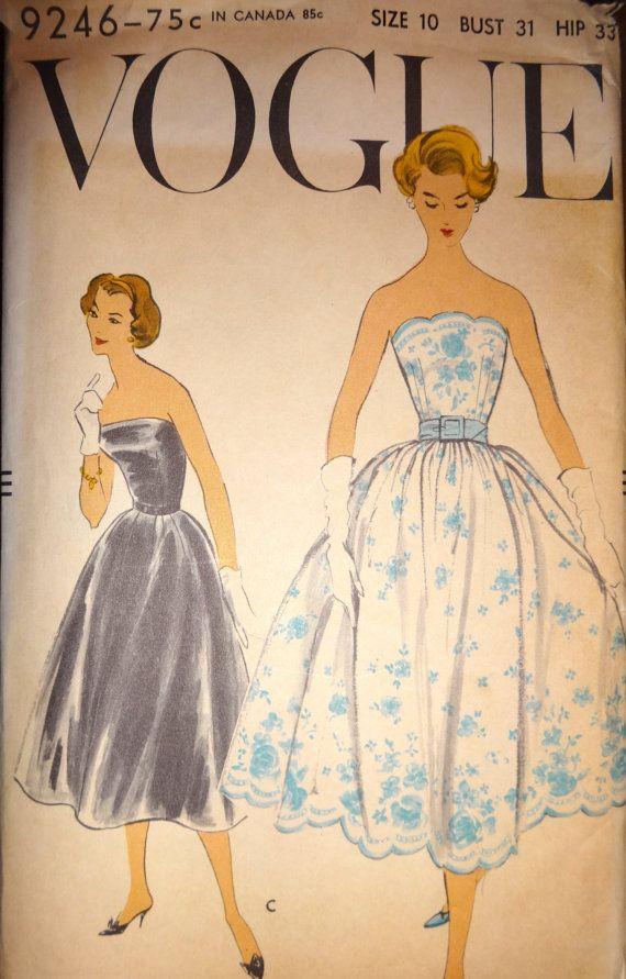Vintage 50s Vogue Dress Pattern No. 9246 by BestofBessVintage, $52.00