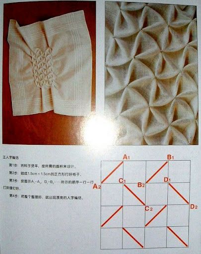 Canadian triangular pattern smocking - What an interesting gather! Saving this one for some future costumes!