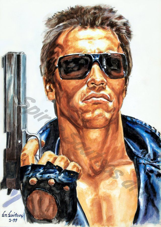 The Terminator (1984) movie poster, Arnold Schwarzenegger painting portrait