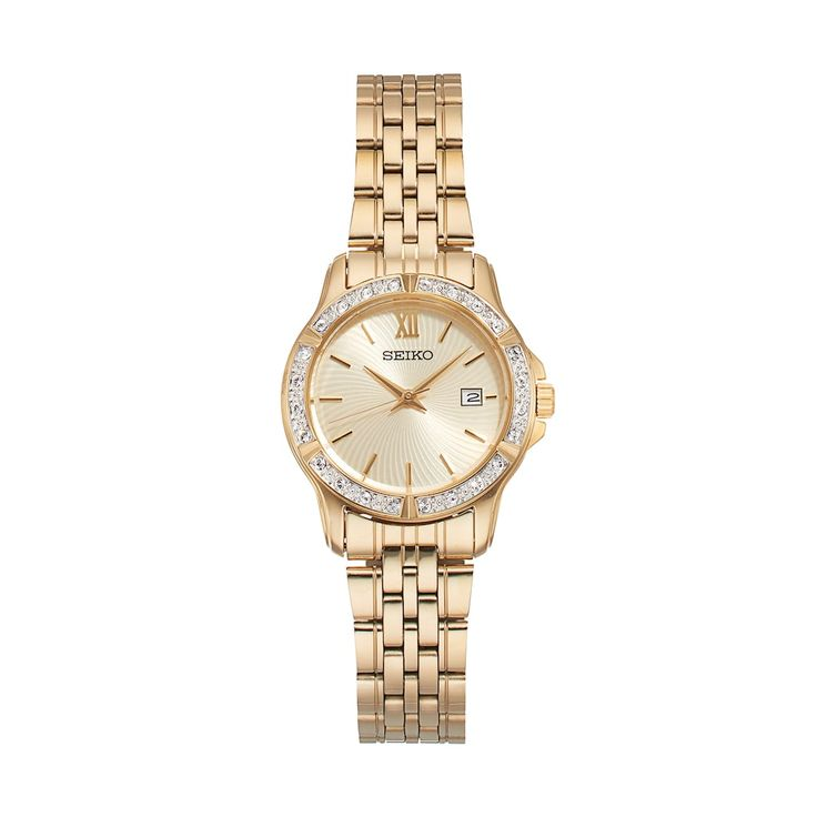 Seiko Women's Crystal Stainless Steel Watch - SUR728, Gold
