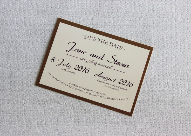 Elegant rustic save the date postcard for wedding in New Zealand and Ireland