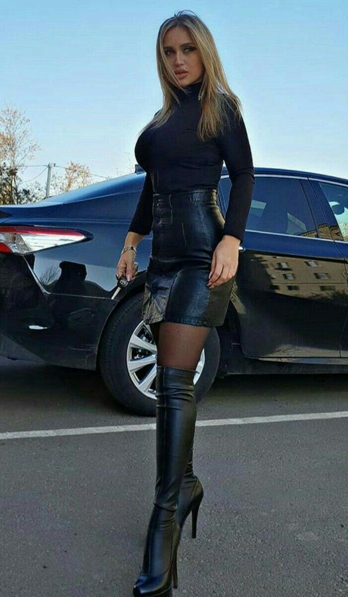 1425a3ebbb1a Pin by Chris Evans on Boots in 2019   Black leather skirts, Leather ...