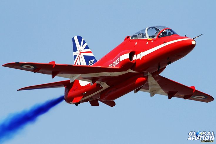 One of the Red Arrow's Syncro Pair in a Bae Hawk trainer at Weston Air Festival 2014 © Shaun Schofield - www.globalaviationresource.com
