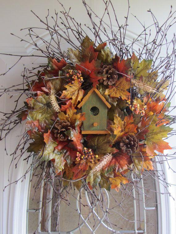 Fall Wreath Autumn Wreath Birdhouse Wreath by DoorWreathsByDesign