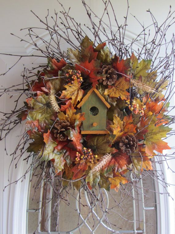 Fall Wreath Autumn Wreath Birdhouse Wreath  by DoorWreathsByDesign, $57.95