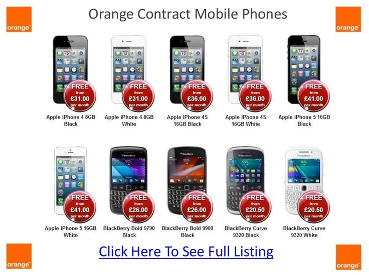 Orange contract mobile phones brochure.