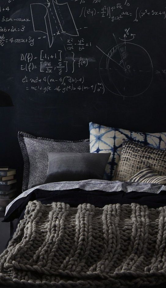 Grey bedroom, masculine, chalkboard, knit.