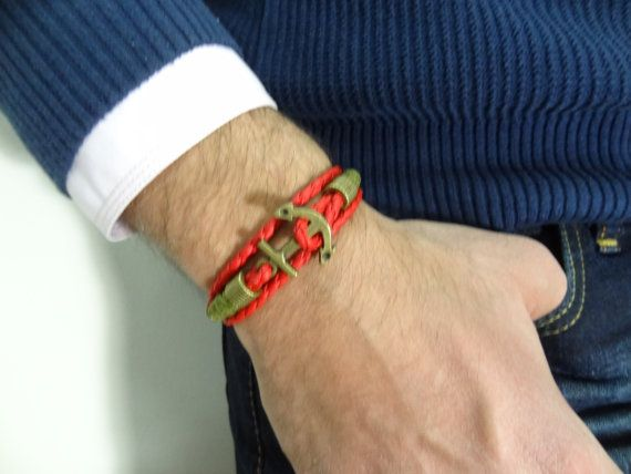 Anchor Hook Bracelet, Red Imitation Braided Leather Bracelet, Nautical Bracelet, Wrap Bracelet, Father's Day Gifts, Mother's Day Gifts,