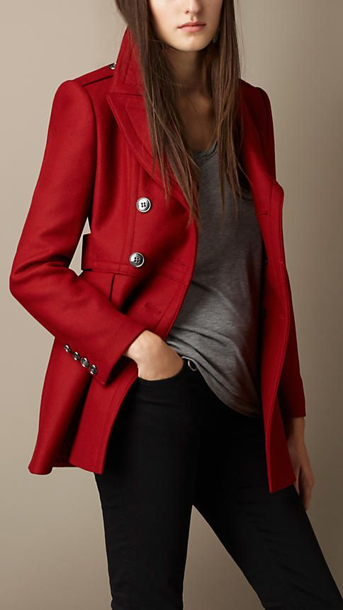 Burberry Brit Double Wool Twill Coat