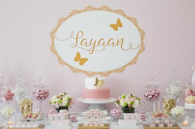 Pink and Gold Butterfly Baby Shower dessert table