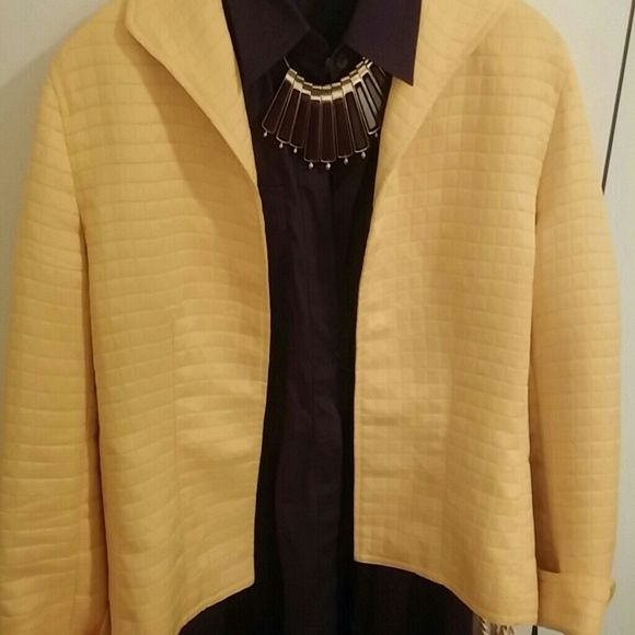 Laura Ashley quilted lemon yellow jacket Quilted lemon yellow quilted jacket. Slight pilling in wearer's right side bottom. Could barely find it to photograph. Lightweight and lined in a yellow, Brown and ivory floral. So cute Laura Ashley Jackets & Coats