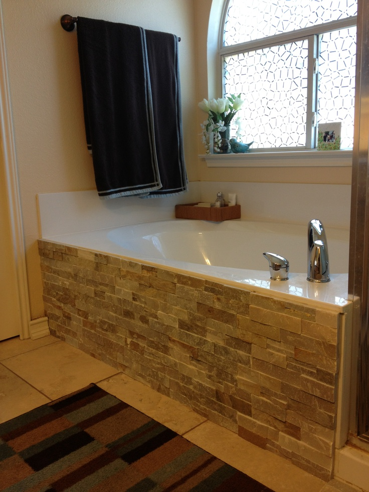 Backsplash Tile And Adhesive Glue To The Side Of Our Bathtub Love The Contrast But