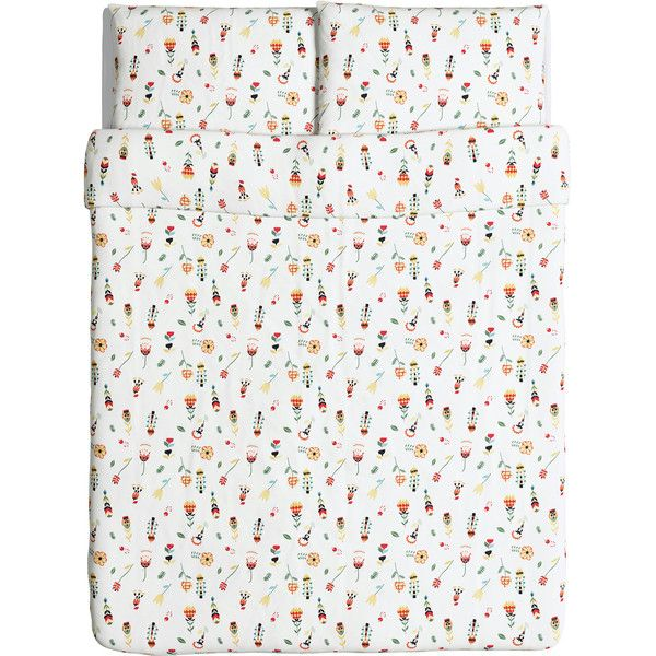 ROSENFIBBLA Quilt cover and 4 pillowcases White/floral patterned (30 CAD) via Polyvore featuring home, bed & bath, bedding, quilts, white bed linen, floral pillow case, cotton bedding, flowered bedding and white floral bedding