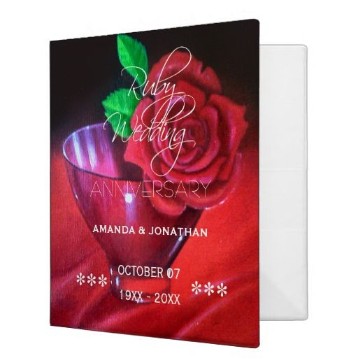 40th Ruby Wedding Anniversary Red Rose Binder