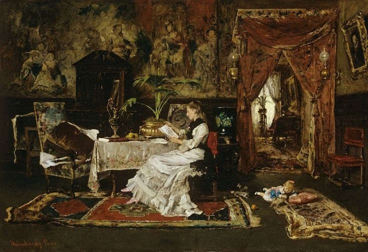 Mihály Munkácsy (Hungarian, 1844-1900) - Paris Interior (Woman Reading), 1877 (Oil on wood. Hungarian National Gallery, Budapest) - - Munkácsy was a master at using values to create the drama and movement he wanted. In this detail of the woman reading, one see his exquisite draughtsmanship…