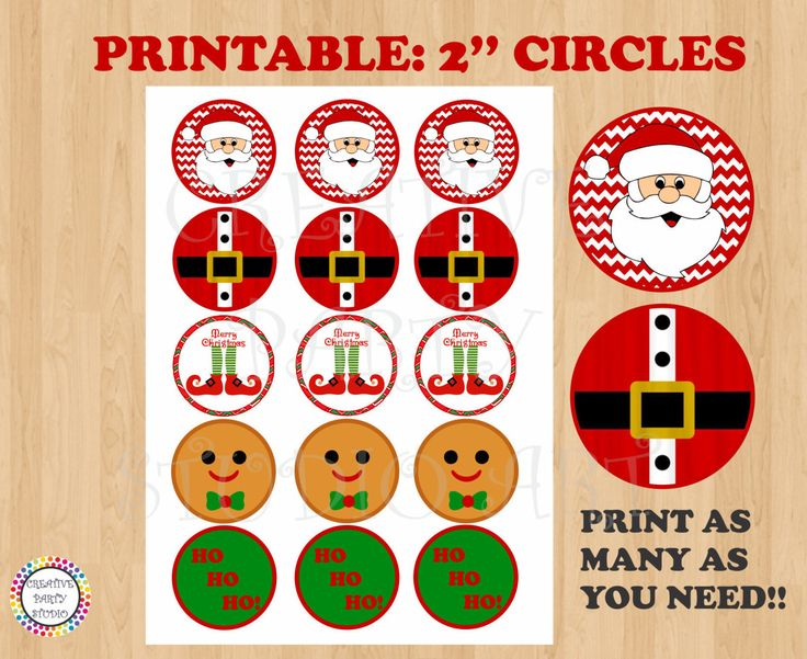 Printable--> Christmas Party 2'' Cupcake Toppers/ Gift Labels/ Tags/ Stickers/ Sticker/ Favor/ Favors/ Tag/ Decoration/Feliz Navidad/ DIY/ cake topper/ banner/ sign/ merry christmas/ happy holidays/ party decor/ invite/ wrapper/ presents label/ santa claus/ christmas tree/ ornaments/ clipart/ cliparts/ instant download/ free/ elf/ christmas elves/ white christmas/ naughty or nice/ snowman/ gingerbread cookie/ house/ christmas party ideas by CreativePartyStudio on Etsy