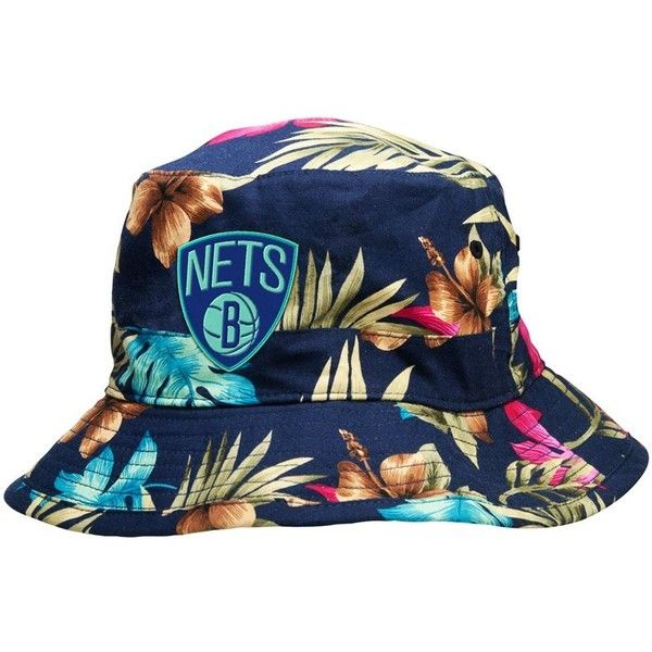 Mitchell & Ness Brooklyn Nets Hawaiian Print Bucket Hat... ❤ liked on Polyvore featuring accessories, hats, bucket hat, netting hat, fisherman hat, print bucket hat and mitchell ness hats