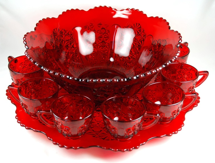 """Mosser Glass Ruby Red Daisy Button Punch Set w 18"""" Underplate"""