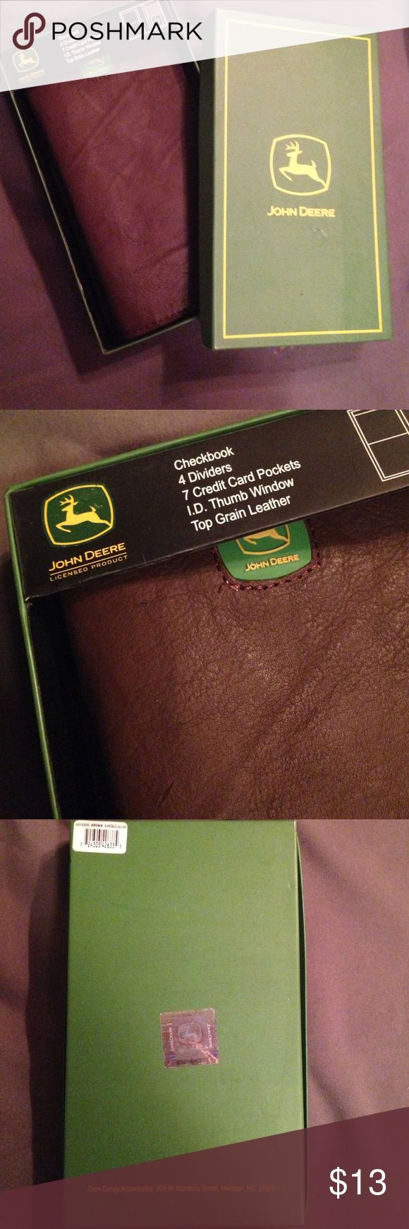 NEW IN BOX Leather John Deere Checkbook Wallet ID Never used, still in original box. It is licensed. Holds a checkbook, 7 credit cards, I.D. and has 4 dividers. Box isn't in perfect condition, but wallet is. John Deere Bags Wallets