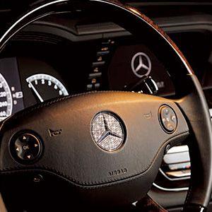 A customized Mercedes-Benz SL600 studded with Swarovski crystals