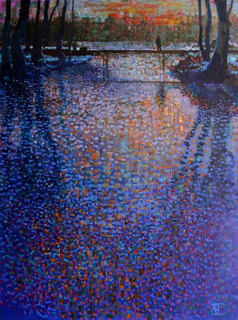 Ton Dubbeldam – Mystic River Melting – oil with dry pastel