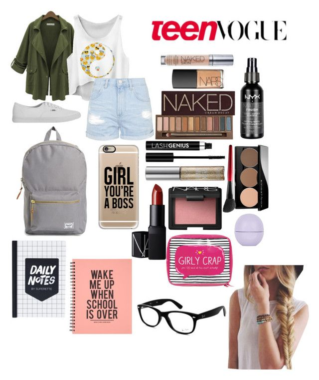 """Back2School Outfit {Thursday}"" by secretkkpm on Polyvore featuring Urban Decay, Vans, Casetify, Ray-Ban, Topshop, NARS Cosmetics, Anastasia, Smashbox, Happy Jackson and Herschel Supply Co."