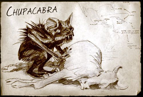 The Chupacabra is a Cryptid (a term is used in cryptozoology to refer to a creature whose existence has been suggested but not scientifically confirmed) said to attack and drain the blood of livestock and possibly other animals, reported mainly in South America.