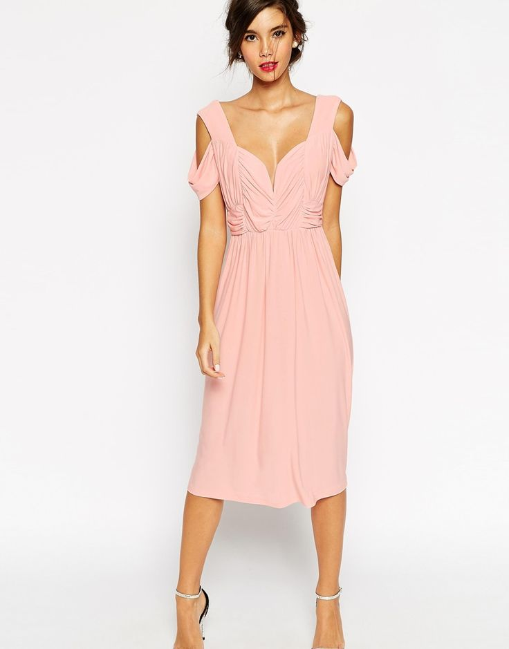 Image 1 of ASOS WEDDING Cold Shoulder Ruched Midi Dress