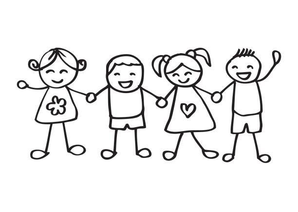 Criancas De Maos Dadas Ilustracao De Arte Em Vetor Criancas De