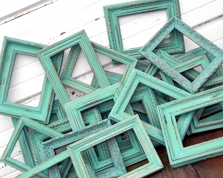 Love this picture! I am going to buy old Rustic Vintage Frames and paint them Shabby Chic aqua, violet, or pink for a bare wall I have.  I guess I am going used store shopping tomorrow.