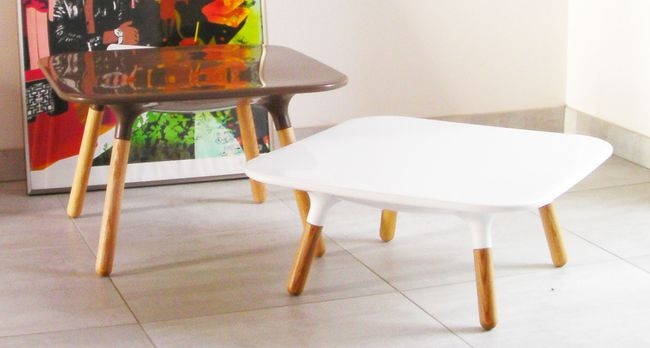 Table basse scandinave MARGUERITE 45cm/blanc