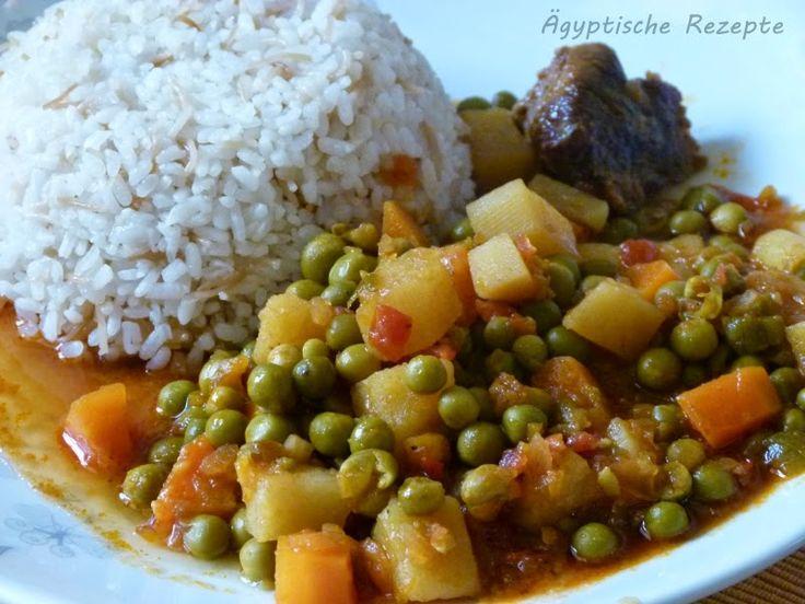 Ägyptische Rezepte: Erbsen und Möhren in Tomatensoße - Bessila wa Gazar