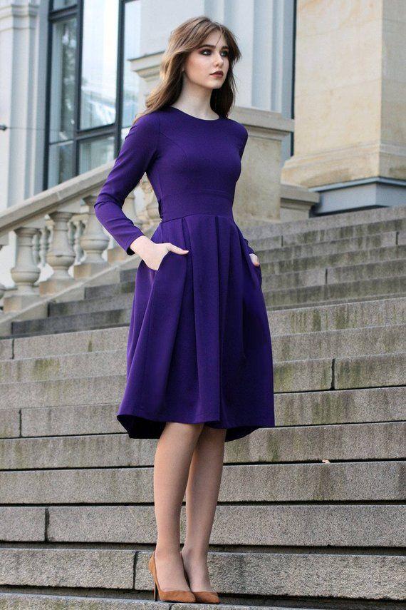 Purple Dress, Long Sleeved Dress, Purple Clothing ...