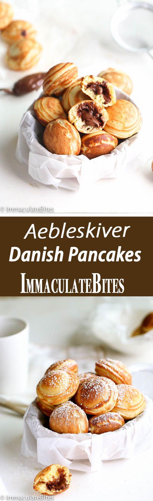 (Aebleskiver) Danish Pancakes stuffed with Nutella