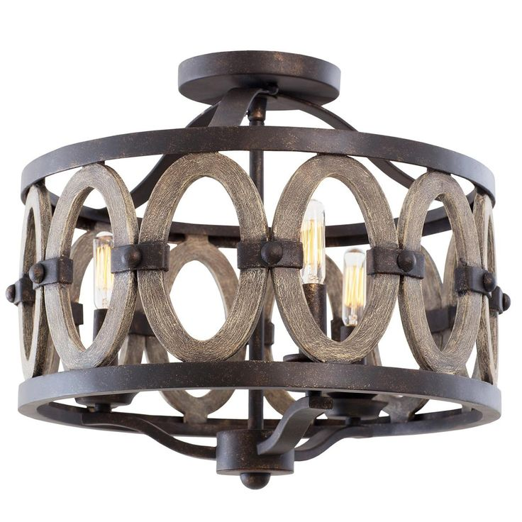Driftwood Entwined Ovals Ceiling Light. Semi-flush perfect for the beach.  gold bronze finished and wood.