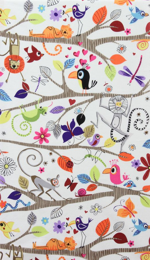 Alexander Henry Fabric - Monkey's Bizness Collection - Just Hanging - Natural/White - Novelty Animal Fabric