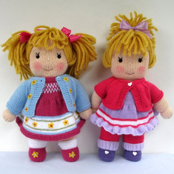 Jasmine and Violet doll knitting pattern INSTANT by dollytime