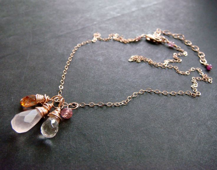 Rose Quartz Rose Gold necklace with Sunstone and Rock Crystal wire-wrapped briolettes