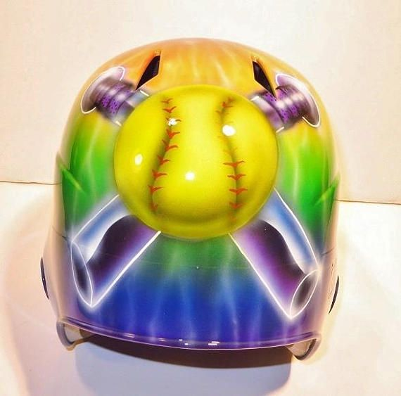 Custom Airbrushed Batting Helmet With Name On Back Painting Etsy Custom Airbrushing Batting Helmet Airbrush Designs