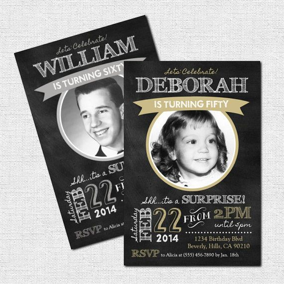 Milestone Birthday Invitations  - CHALKBOARD DESIGN / Any Age / Any Color (printable) - Great for a  50th or 60th Birthday: