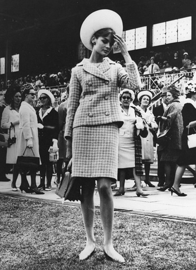 Jean Shrimpton, mingles with the crowds attending the Melbourne Cup horse race, 1965
