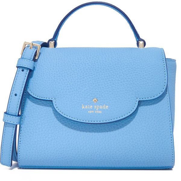 Kate Spade New York Mini Makayla Top Handle Bag ($250) ❤ liked on Polyvore featuring bags, handbags, shoulder bags, soundview blue, leather flap handbags, blue leather handbags, kate spade shoulder bag, kate spade purses and blue handbags