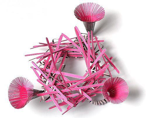 A great brooch - pink powdercoated steel by Mirjam Hiller...see more if you like...  http://www.mirjamhiller.com/