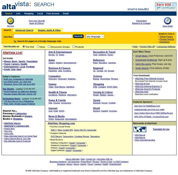 Altavista website in 1999