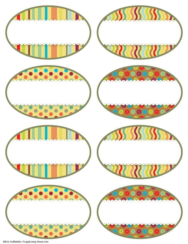 7 Free Printable Canning Jar Labels: Brights Oval Labels