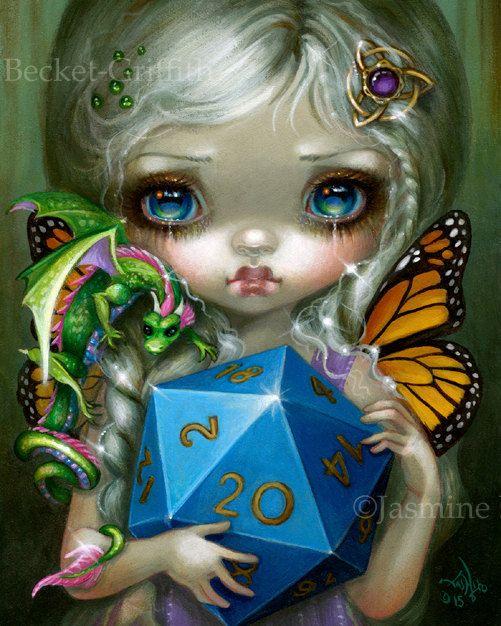 20 Sided Dice Fairy art print by Jasmine Becket-Griffith 8x10 cute baby dragon fairy friend d20 die dragoncon