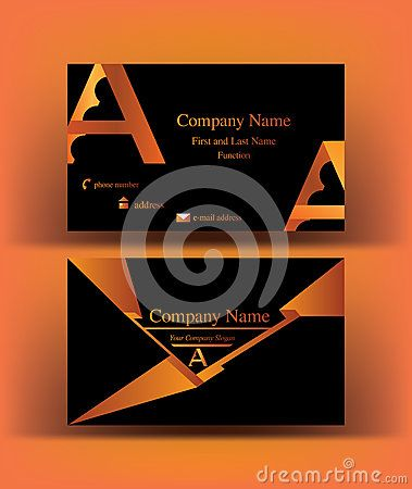 #Black #business #card with abstract #A #letter #logo design, on #orange background