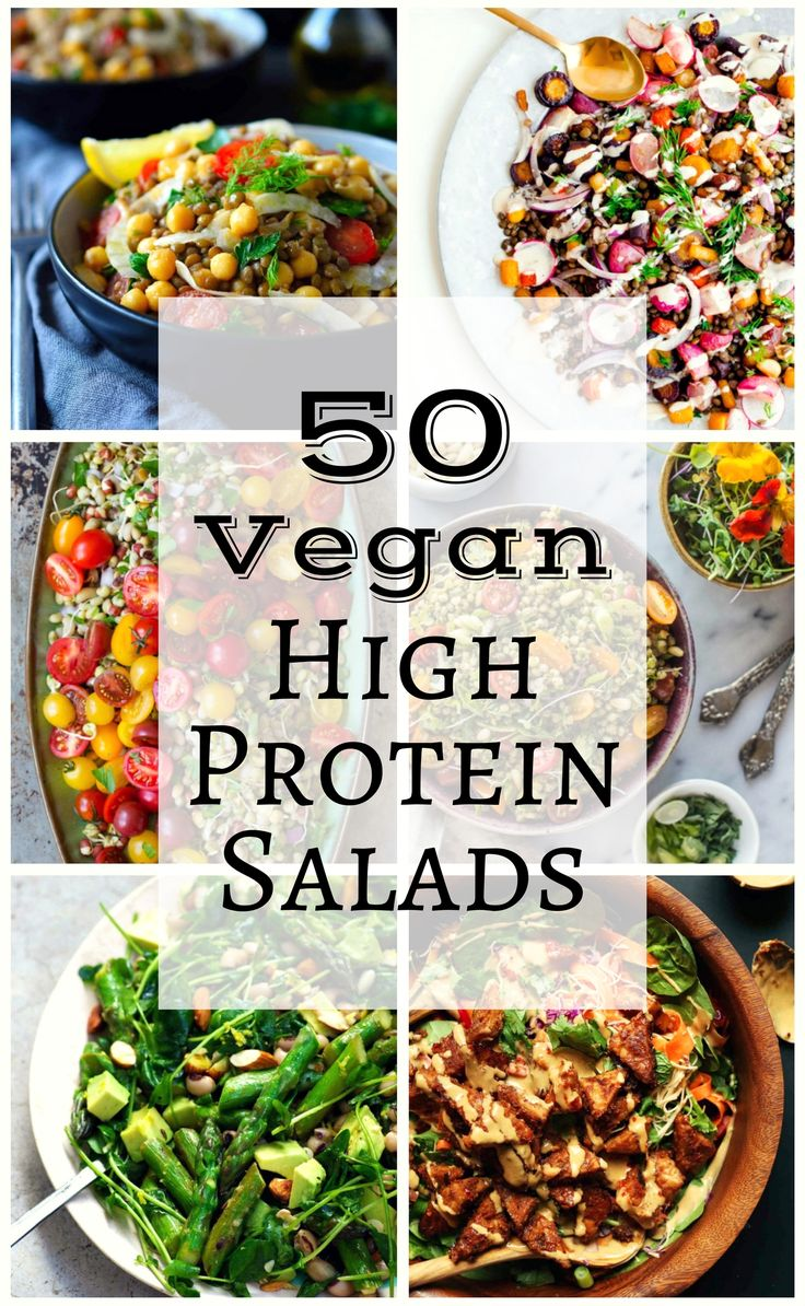 We've scoured the internet to find fifty of the best, most creative and beautiful (and tasty) vegetarian and vegan high protein salads.