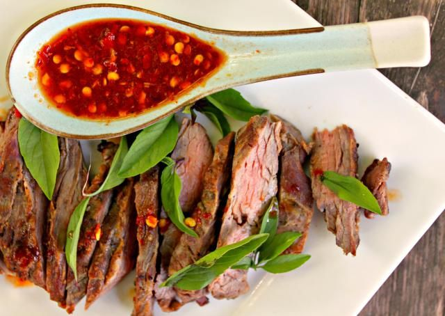 This skirt steak recipe not only calls for soy and ginger, but also uses rice wine vinegar and lime juice which helps to tenderize the meat.