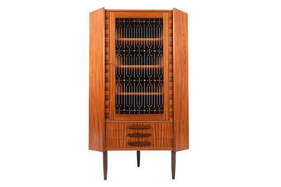 Danish Mid Century Modern Corner Cabinet Bar In Rosewood